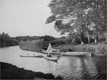 Canoe with sail above Bacton Wood Bridge on North Walsham-Dilham Canal. Ling collection