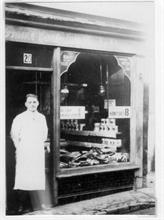 Claude Leatherdale outside the London Central Meat Company shop at 20 Kings Arms Street, North Walsham.... later moved to 10 Market Place
