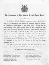 Coronation of George V, June 22nd., 1911 - first page of commemorative pamphlet .