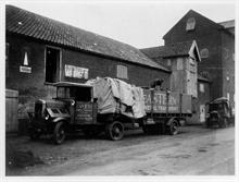 Ebridge Mills, White Horse Common, North Walsham. Arrival of a Scammel lorry.