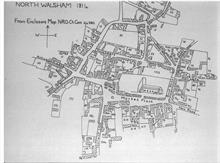 Enclosure Map of North Walsham, 1814. By this time, most of the market stalls had been replaced by brick buildings.