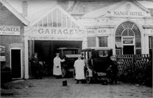 Frank Mann's Garage at Mundesley, next to the Manor Hotel.