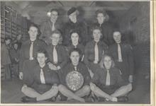 Girl Guide Company, North Walsham,1946. Frances Green holds the shield.