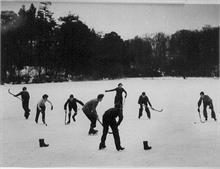 Ice hockey on Westwick Pond, near North Walsham.