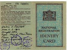 Identity Card of Doris Rayner, nee Marjoram. Endorsements signed by G.B.Fuller.