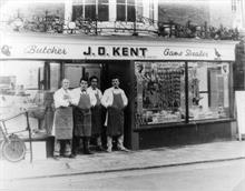 Kent's Butchers, Market Street, North Walsham. Andrew Kemp; David smith; Clive Bird; Denis Woodhouse.