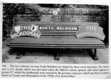 North Walsham Railway memorabilia. Original bench of M&GN and express headboards.
