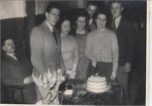 North Walsham Youth Club, first anniversary cake cut by Edith Cutting, 1949.