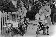 Nth.Walsham milkmen.Geoffrey (Freddie) Jarvis, later of fish shop & Stanley Scott, later own Milk Business on Station Road, in early days.
