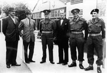 R Dorman (in D.J.), manager of Regal Cinema, New Road, North Walsham with military gentlemen promoting a film.