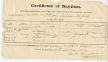 Record of Baptism in Methodist Church Grammar School Road, North Walsham. Notice the word Primitive has been crossed out after the amalgamation of the Primitive Methodists with the Wesleyans.