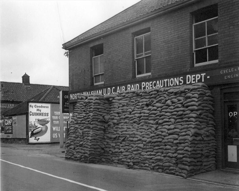 Photograph. A.R.P. Offices in Walker's Garage, Yarmouth Road, North Walsham. (North Walsham Archive).