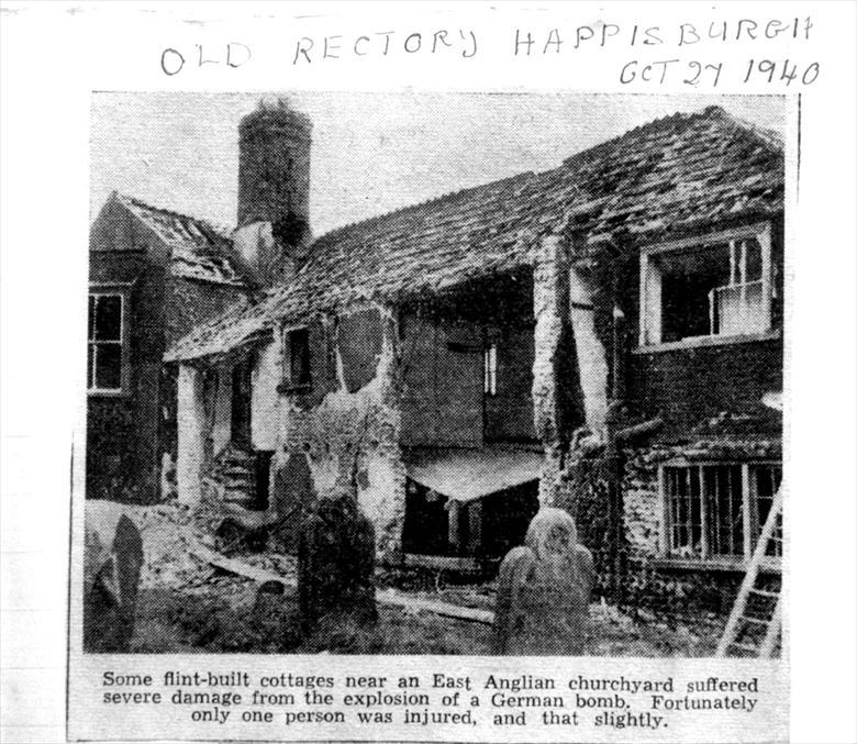 Photograph. Bomb damage to Happisbugh old rectory in 1940 (North Walsham Archive).