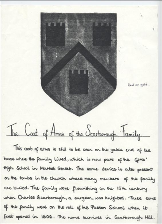 Photograph. The Coat of Arms of the Scarborough Family (North Walsham Archive).