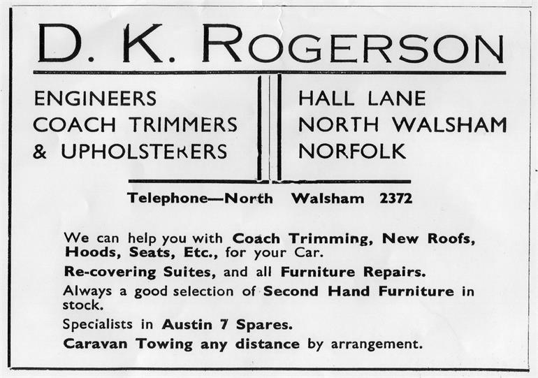 Photograph. D. K Rogerson Engineers, Coach Trimmers & Upholsterers. Hall Lane, North Walsham. (North Walsham Archive).