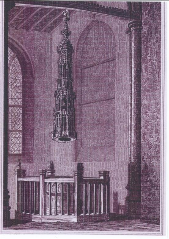 Photograph. The Font North Walsham Church, drawn by J.F. Neale, engraved by J.Le Keux. (North Walsham Archive).