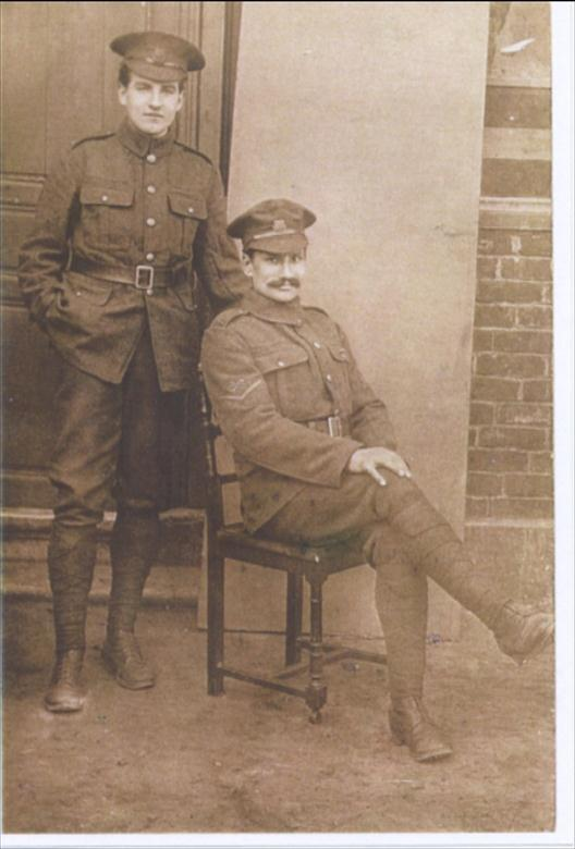 Photograph. Frank Keeble, seated,1916. (North Walsham Archive).