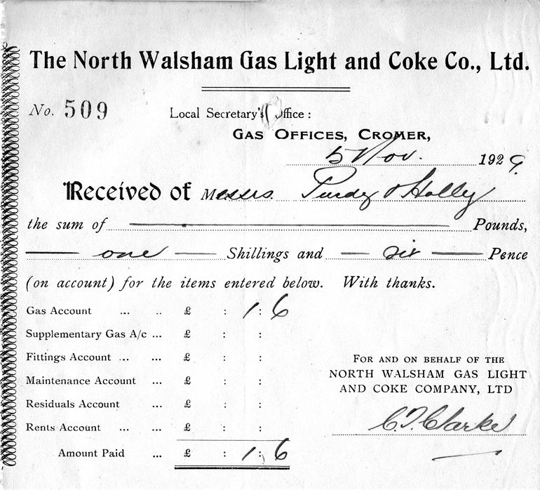 Photograph. Gas bill from North Walsham Gas Light and Coke Co (North Walsham Archive).