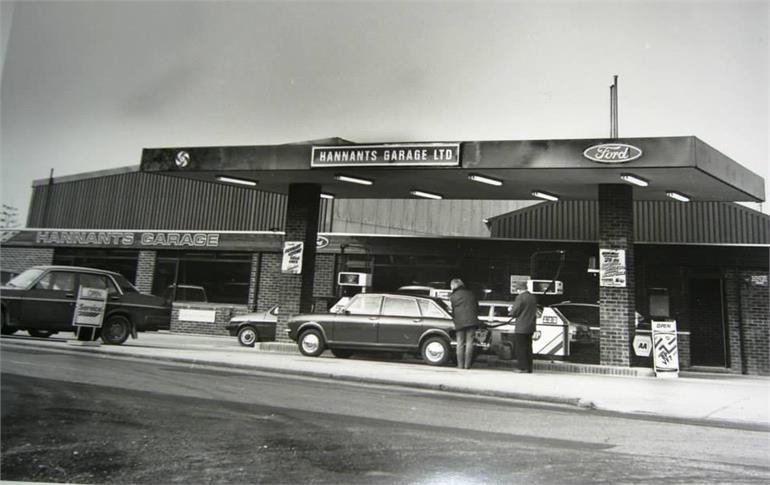 Photograph. Hannants Garage, Bacton Road. (North Walsham Archive).