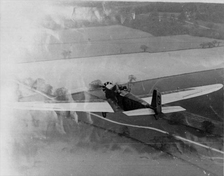 Photograph. KLEMM L25 Monoplane over Mousehold Heath.Owned & flown by Lt.Col.A.J.Richardson of Red House, Yarmouth Road, North Walsham (North Walsham Archive).