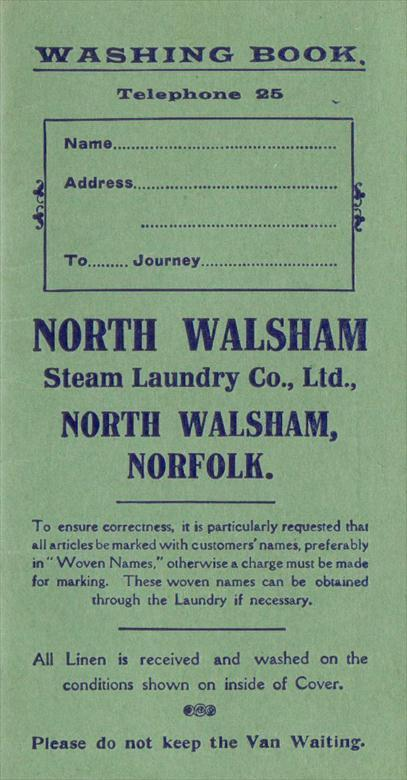 Photograph. Laundry Book of the North Walsham Steam Laundry in Laundry Loke. (North Walsham Archive).