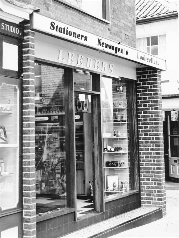 Photograph. Leeders Stationery Shop in North Walsham Market Place (North Walsham Archive).