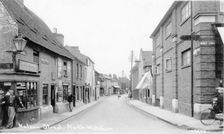 Photograph. Nelson Street, North Walsham (now Mundesley Road). (North Walsham Archive).