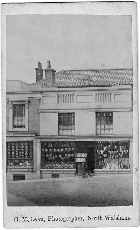 Photograph. North Side Market Place, North Walsham. Bullimore's in old Chamberlain's Shop. Photo G.McLean (North Walsham Archive).