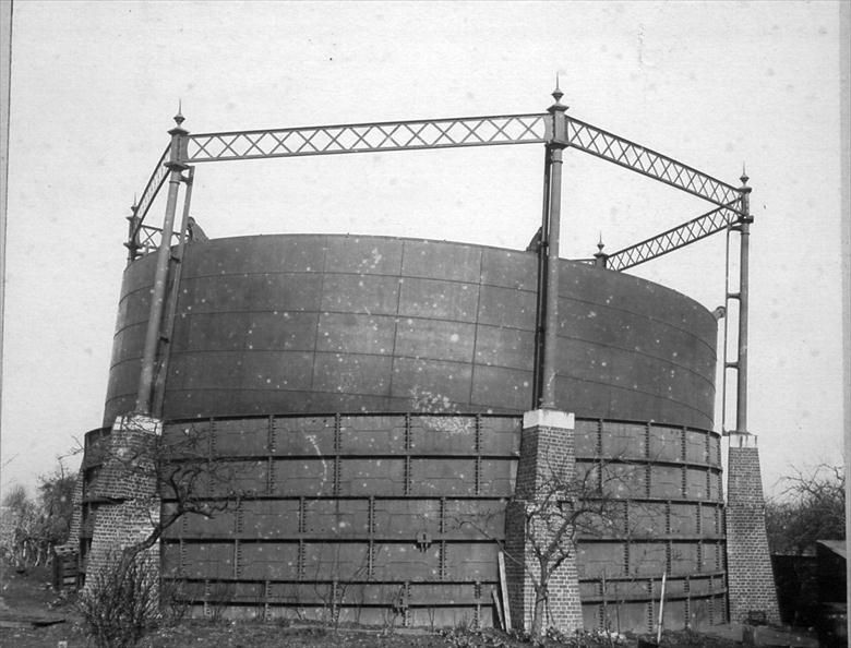 Photograph. North Walsham Gas Works, Mundesley Road. Gale damage to the Gasometer in March 1895. Photo by Maclean (North Walsham Archive).