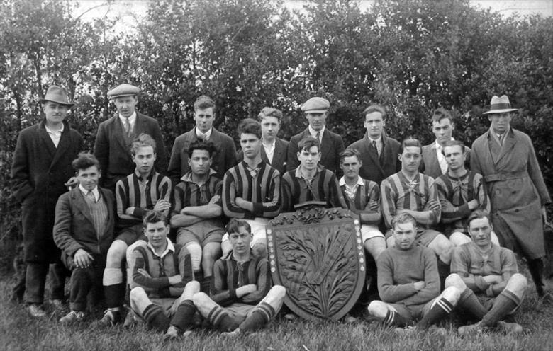 Photograph. North Walsham Hornets football team winners of Charity Shield (North Walsham Archive).