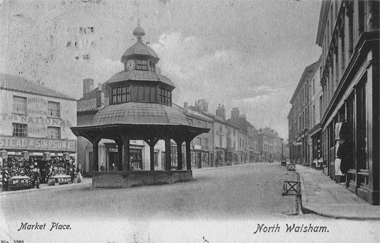 Photograph. North Walsham Market Place. 1904 postcard. (North Walsham Archive).