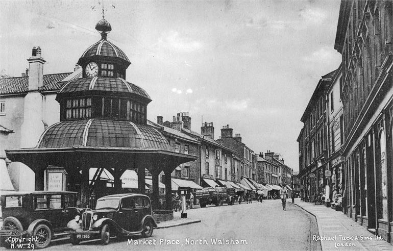 Photograph. North Walsham Market Place and Market Cross (North Walsham Archive).