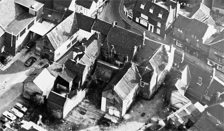 Photograph. North Walsham Old Bear's Yard aerial view (North Walsham Archive).