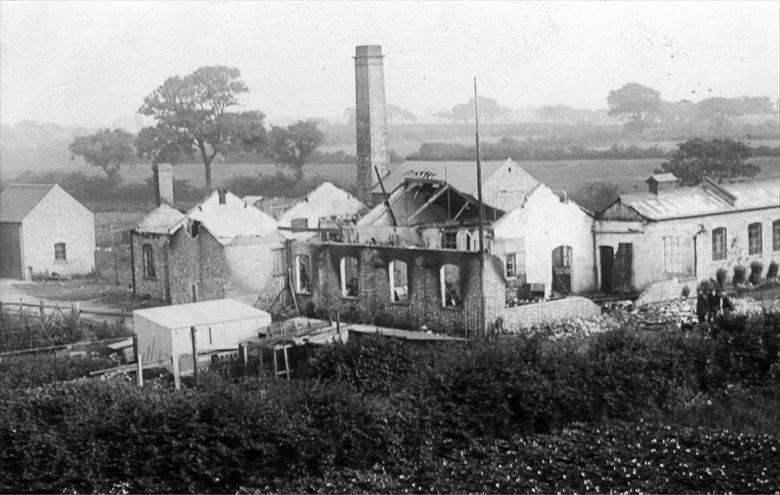 Photograph. North Walsham Steam Laundry, Laundry Loke, after fire of 1906 (North Walsham Archive).