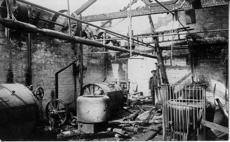 Photograph. North Walsham Steam Laundry, Laundry Loke after the fire of 1906 (North Walsham Archive).