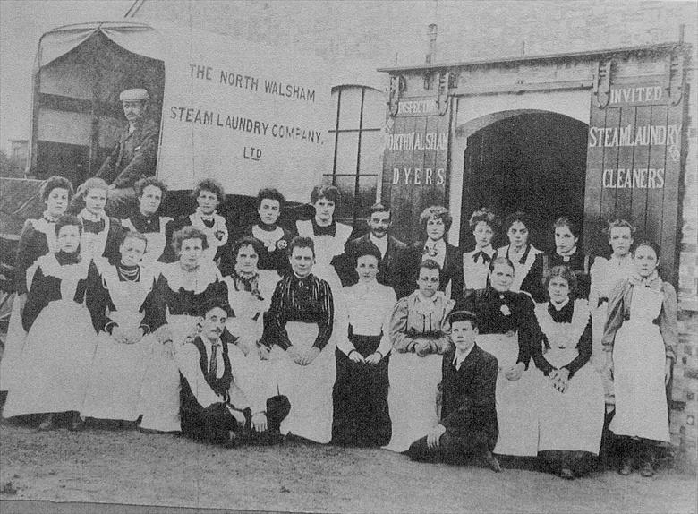 Photograph. North Walsham Steam Laundry, Laundry Loke, North Walsham. C1904... before the fire of 1906 (North Walsham Archive).