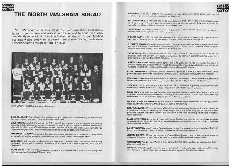 Photograph. The North Walsham Team who were successful in their heat against Norwich and Great Yarmouth in Jeux Sans Frontieres (North Walsham Archive).