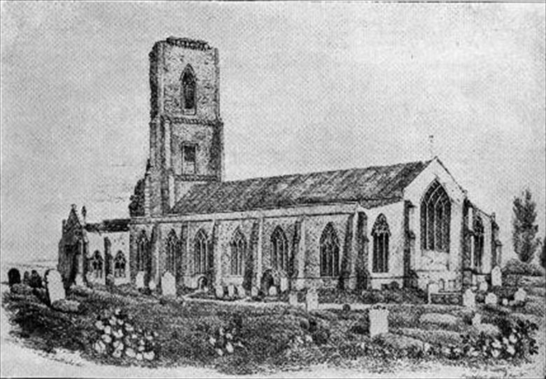 Photograph. Nth. Walsham's Parish Church showing the tower between the falls of 1724 and 1835 (RML collection) (North Walsham Archive).