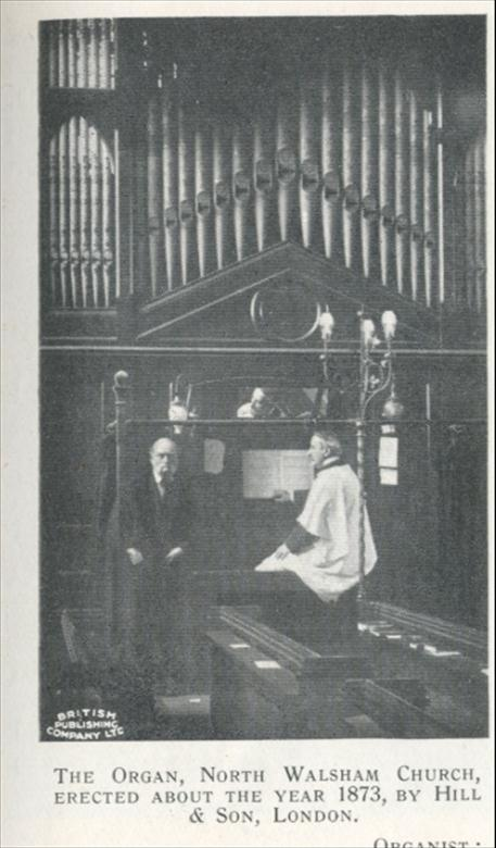 Photograph. Old organ erected 1873 by Hill and Son London (North Walsham Archive).
