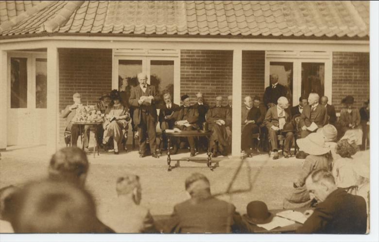 Photograph. Opening the Cottage Hospital as a memorial of the Great War (North Walsham Archive).