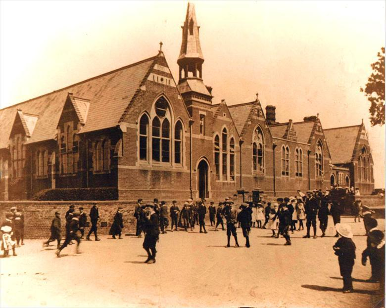 "Photograph. The ""Penny School"", Manor Road, North Walsham. Built by Robinson Cornish, opened in 1874. (North Walsham Archive)."