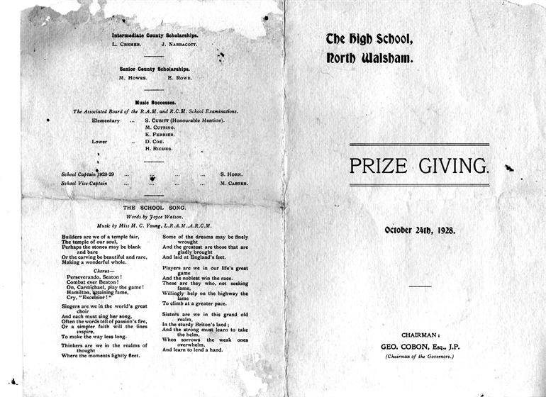 Photograph. Programme for 1928 Prize giving ceremony, NWGHS 1928