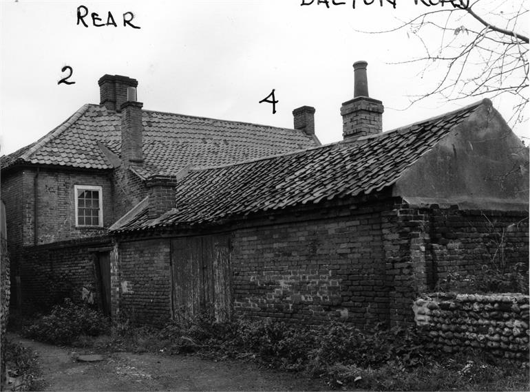 Photograph. Rear of no. 2 and no. 4 Bacton Road c1960. (North Walsham Archive).