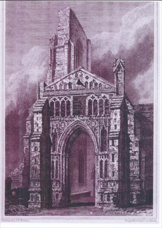 Photograph. South Porch North Walsham Church, drawn by J.P. Neale, engraved by J Le Keux. (North Walsham Archive).