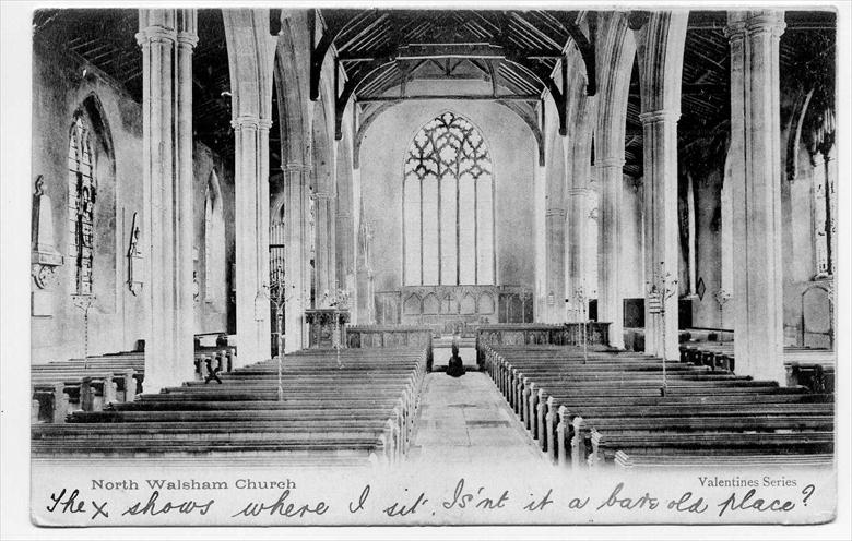 Photograph. St Nicholas' Parish Church, North Walsham, showing the full sized East Window before the fitting of the War memorial window of 1919. (North Walsham Archive).