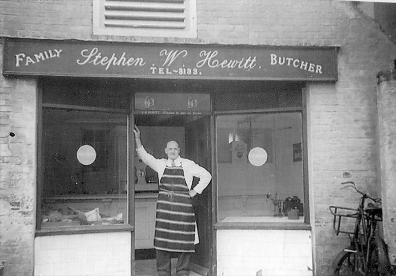 Photograph. Stephen Hewitt, Butcher, Mundesley Road, North Walsham....at end of career. (North Walsham Archive).