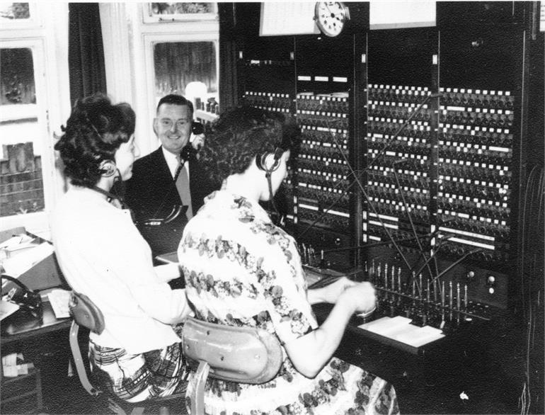 Photograph. Telephone exchange in Jack Laws house, Manor Road, Mundesley. (North Walsham Archive).