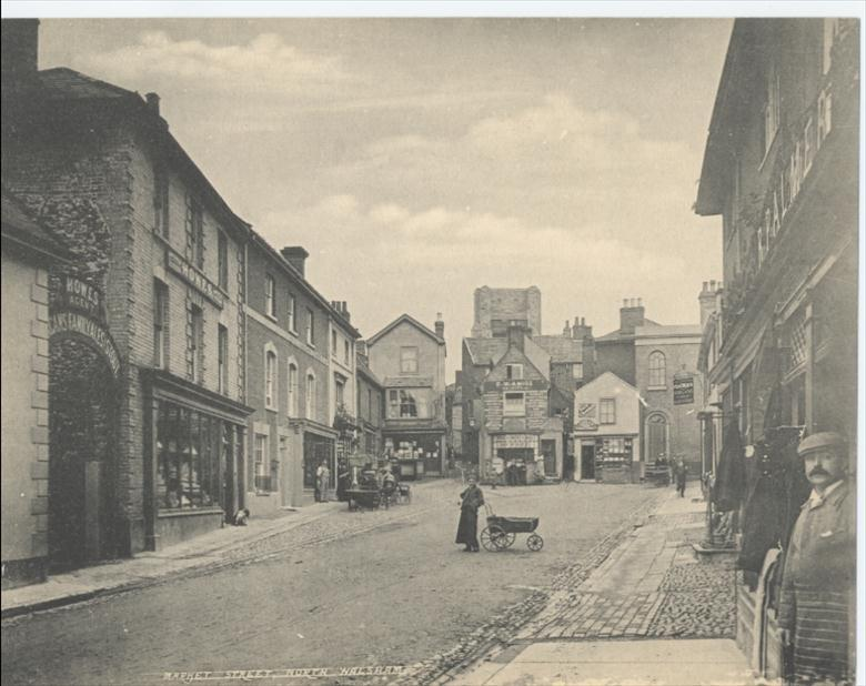Photograph. Top end of Market Street. (North Walsham Archive).