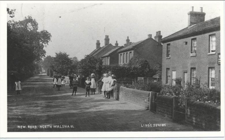 Photograph. A view of New Road in 1911 (North Walsham Archive).